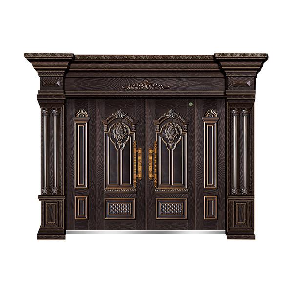 别墅大门系列 GLL-F-1801精雕木纹