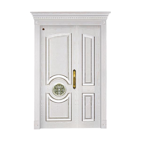 实木油漆套装门 HT-SC-124橡木仿古白