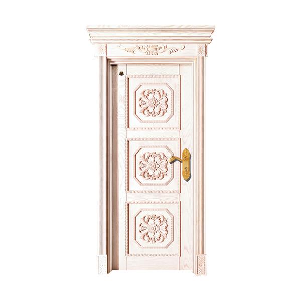 实木油漆套装门 HT-SC-205红木纹开放仿古