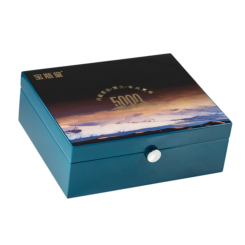 Chinese Style High Glossy Wooden Gift Packaging Box With Golden Hinge For Health ProductsNone