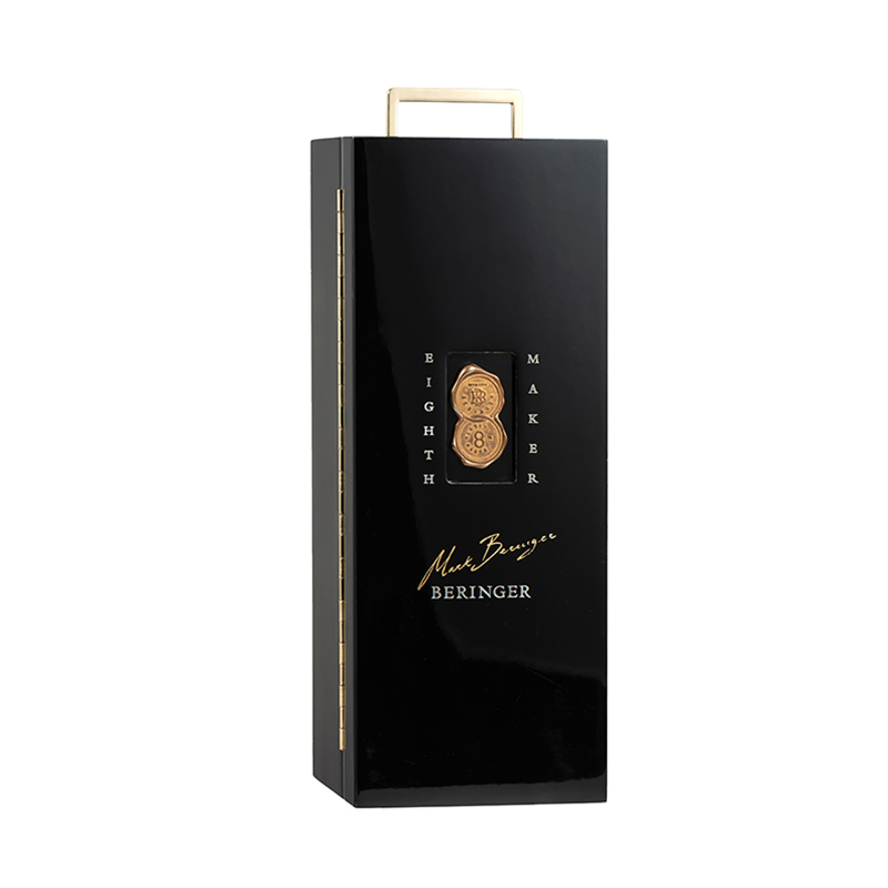 Hot Sale Black Glossy Lacquered Wooden Packaging Box With Golden PlaqueNone