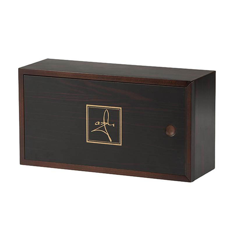 Matt Lacquered Wooden Tea Packaging Box With Sliding LidNone