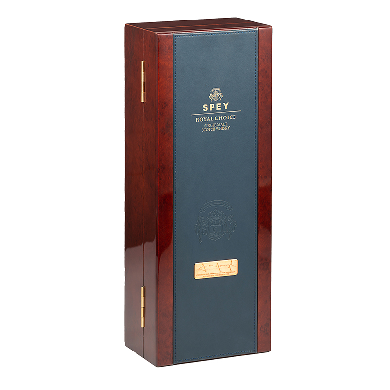 High Glossy Wooden Liquor Packaging Box With Golden FoilNone