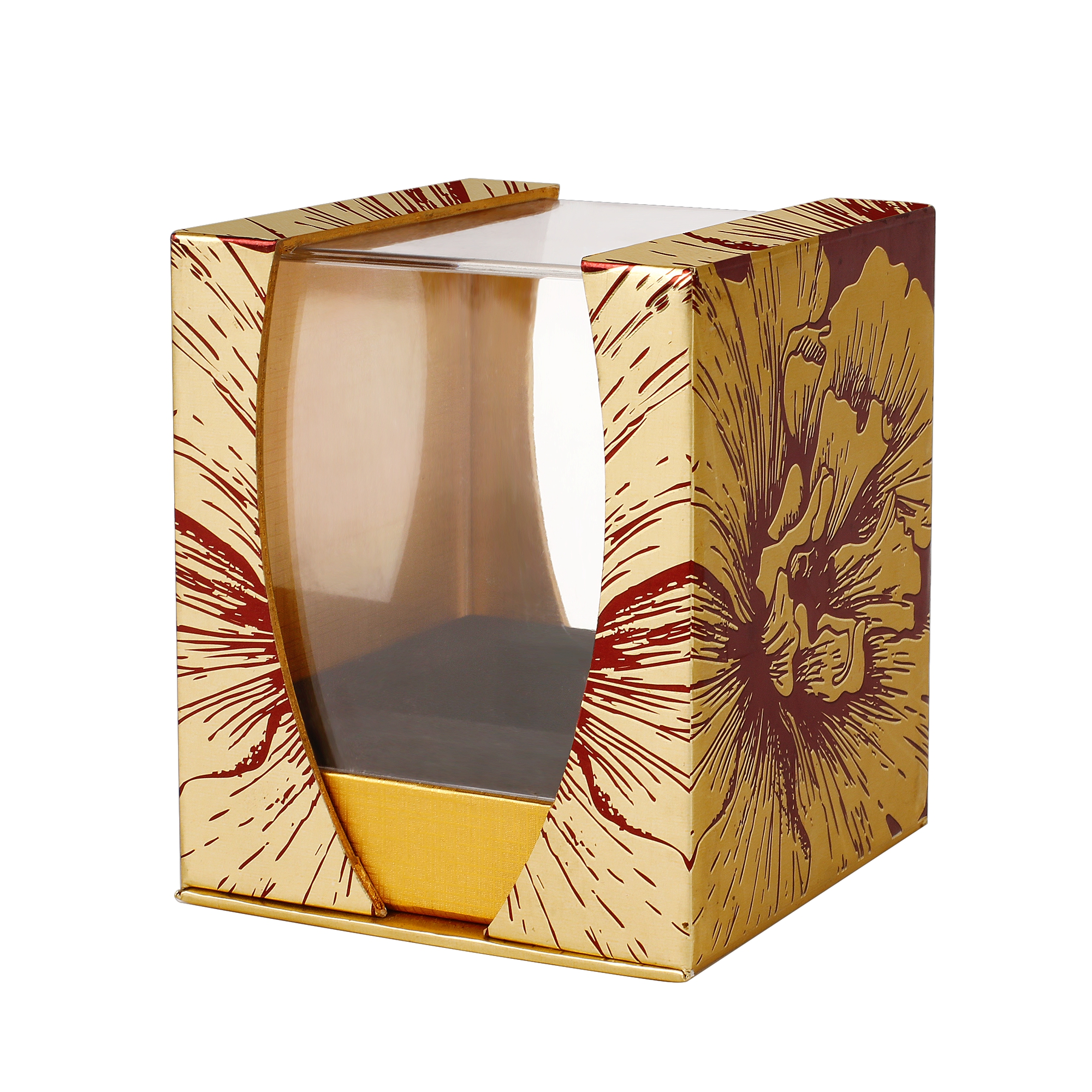 Exquisite Handmade Golden Cardboard Gift Packaging Box With Acrylic Cover For PerfumeNone