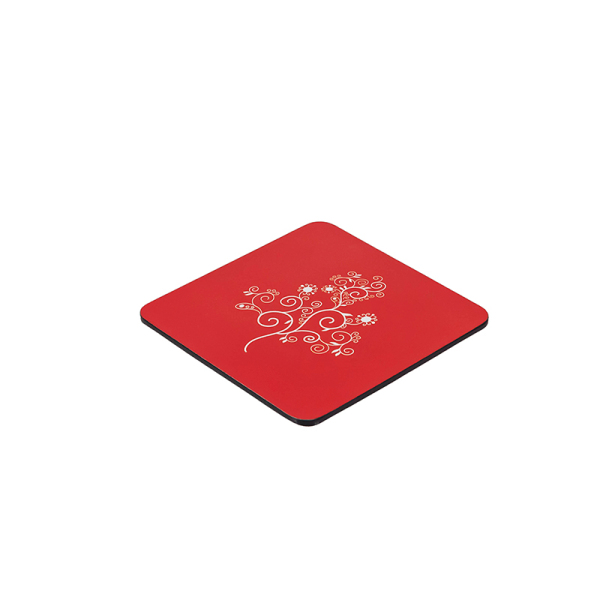Red Rectangular Lacquered Wooden Coaster For Cup None