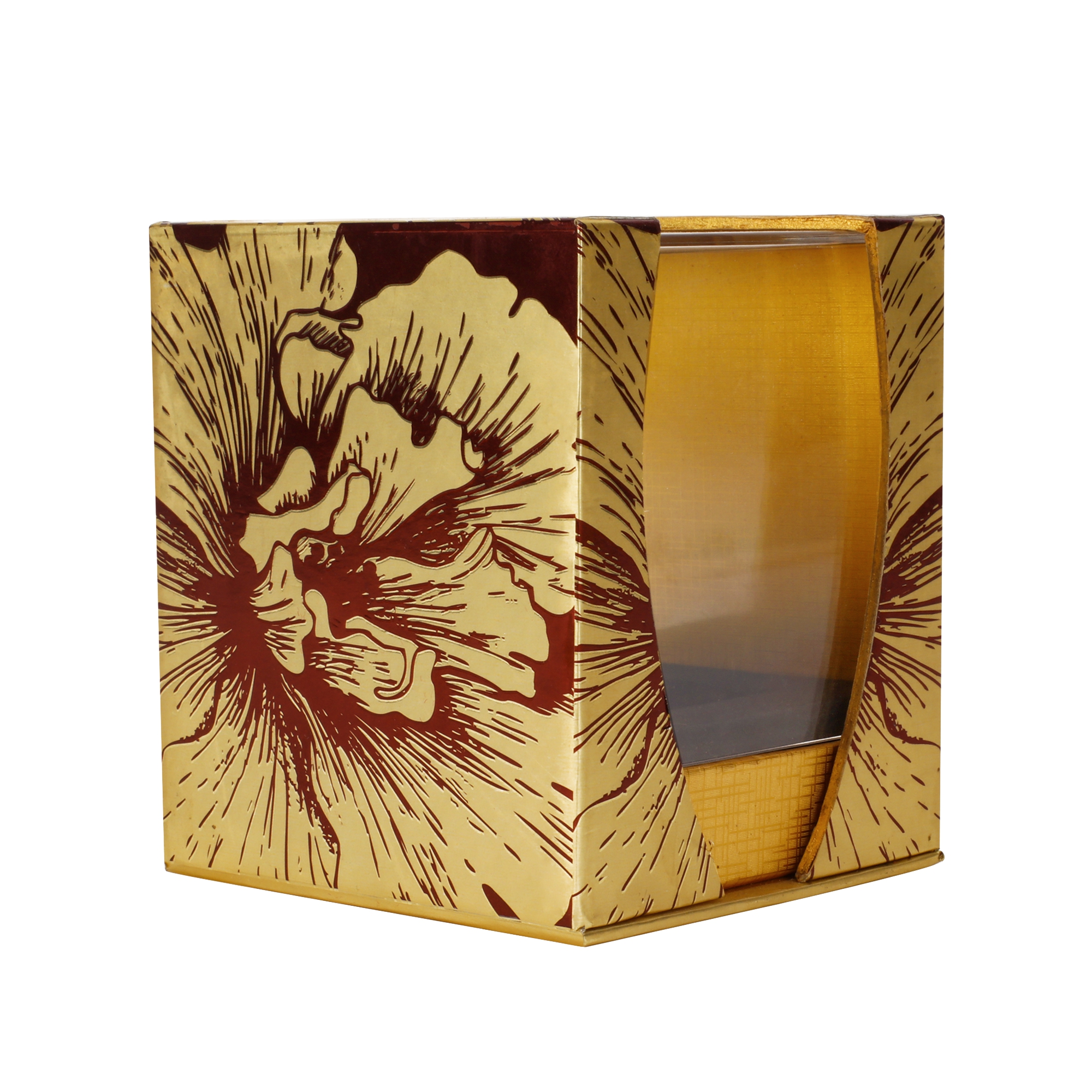 Exquisite Handmade Golden Cardboard Gift Packaging Box With Acrylic Cover For Perfume None