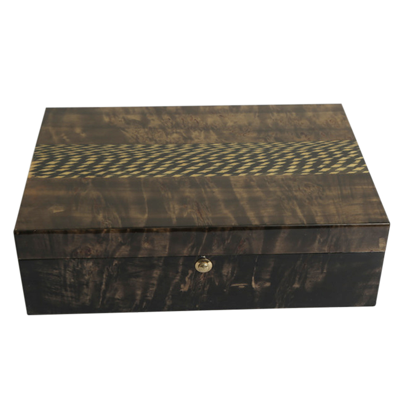 Custom Glossy Lacquered Timber Wooden Cigar Storage Packaging BoxNone