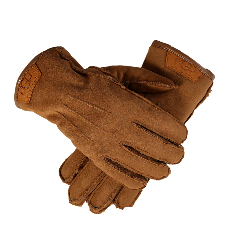 Classic simple suede fabric men's gloves