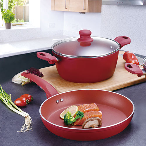 Rosy Red Forged Aluminum Cookware Set JX-FST-02