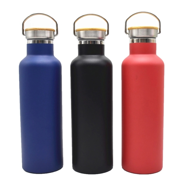 Double wall insulated stainless steel sport water bottle with bamboo lid WJ-500S-BM