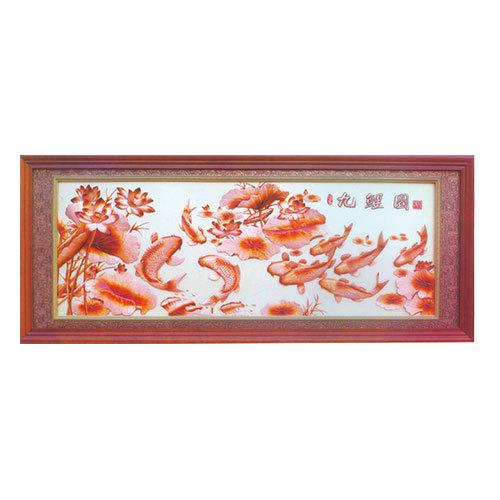 紫銅浮雕系列 九鯉圖